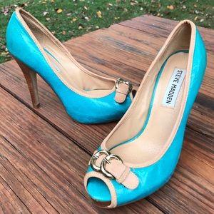 Steve Madden Peep Toe Pumps Turquoise Stiletto 6M